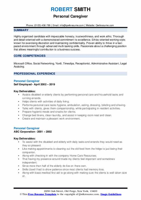Personal Caregiver Resume example