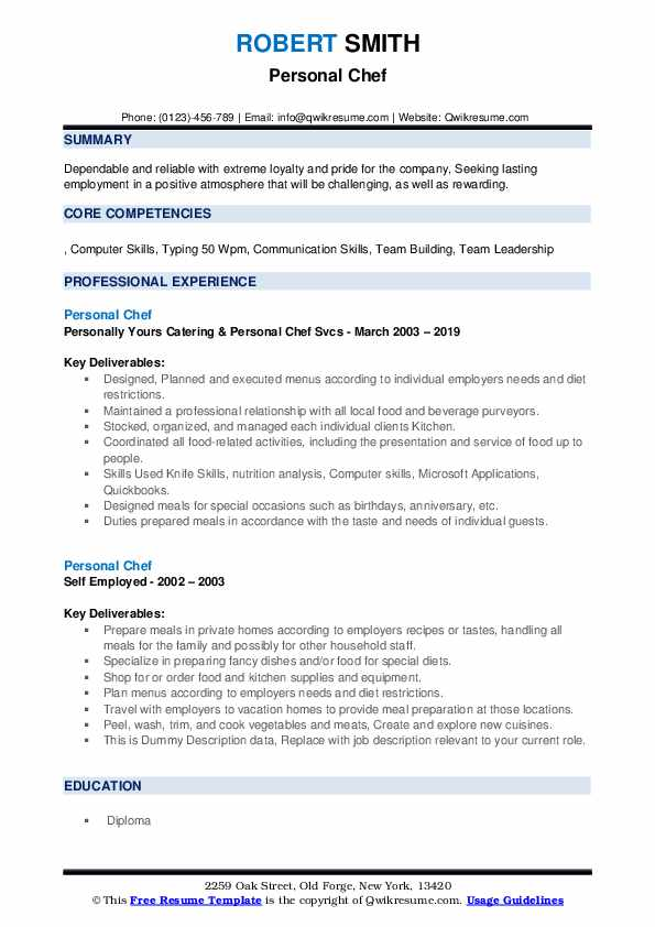 Personal Chef Resume example