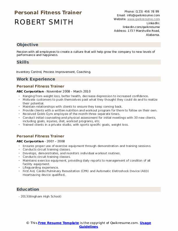 personal fitness trainer resume samples  qwikresume