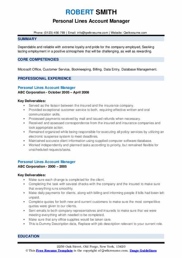 Personal Lines Account Manager Resume example