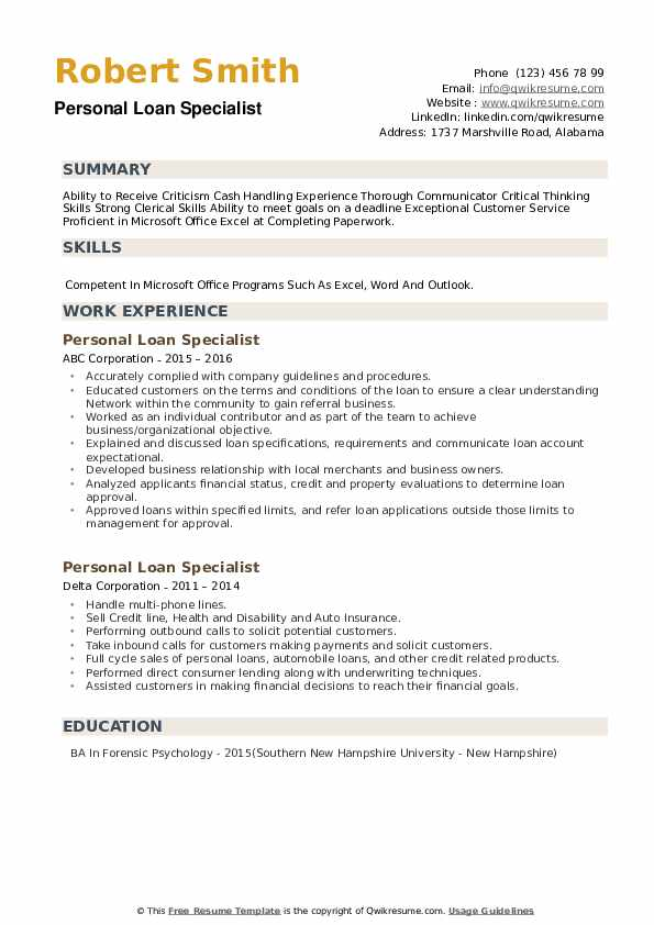 Personal Loan Specialist Resume example