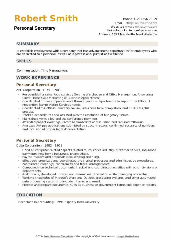 Personal Secretary Resume example