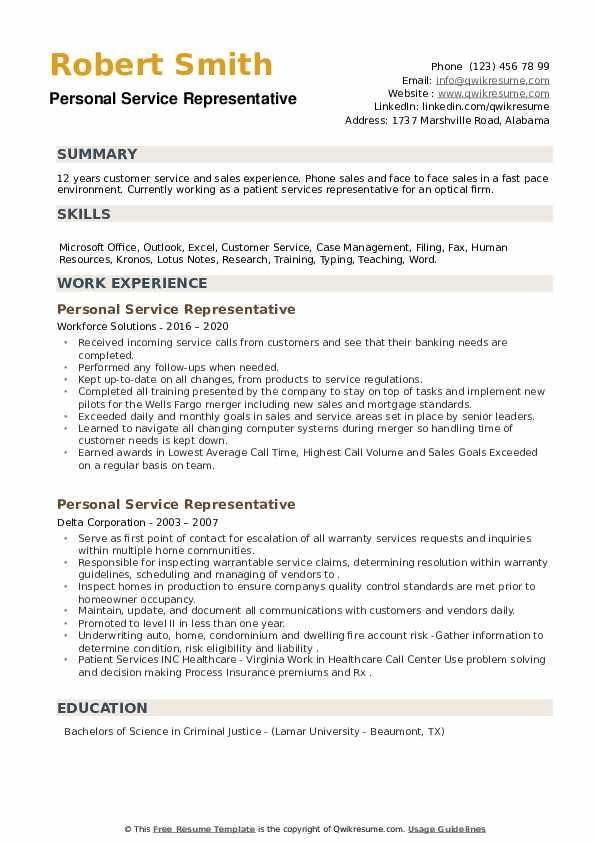 Personal Service Representative Resume example