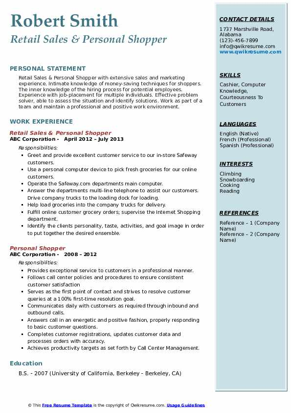 Retail Sales & Personal Shopper Resume Sample