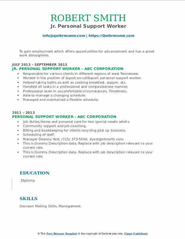 personal support worker resume samples  qwikresume