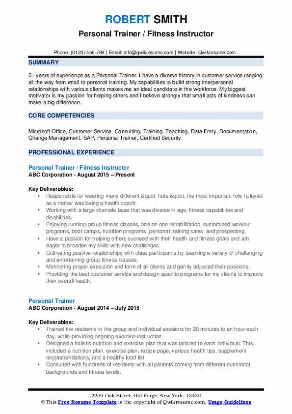 Personal Trainer / Fitness Instructor Resume Model