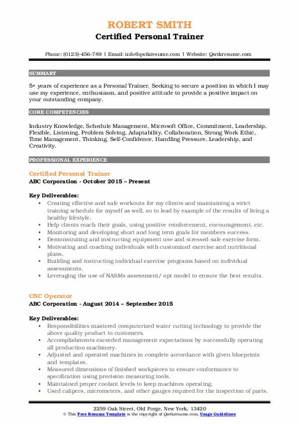 personal trainer resume samples