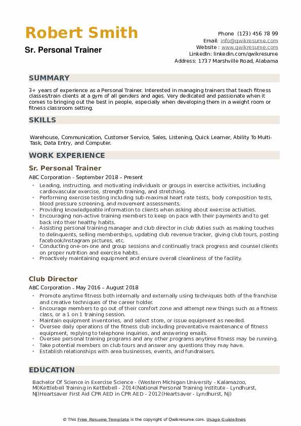 Personal Trainer Resume Samples Qwikresume