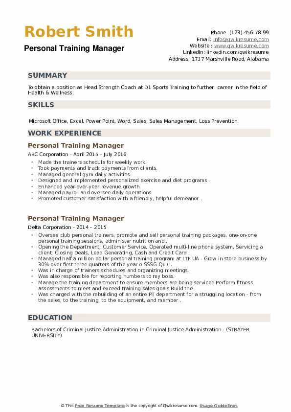 Personal Training Manager Resume example