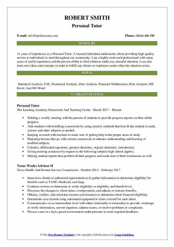 Personal Tutor Resume Sample