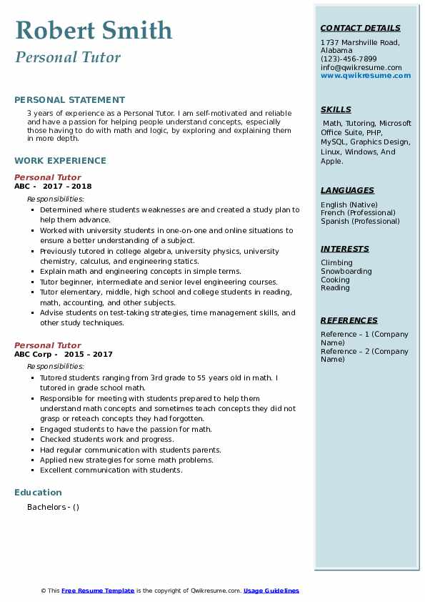 Personal Tutor Resume Template