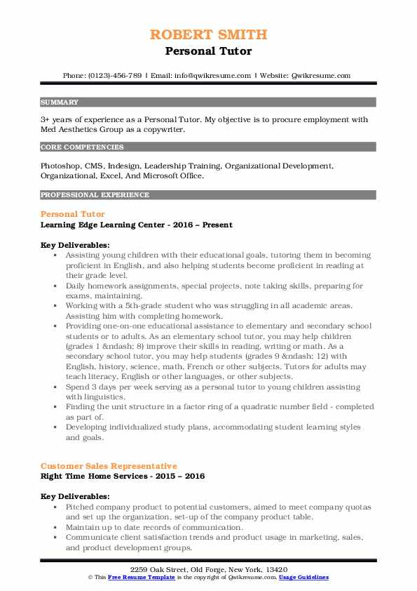 Personal Tutor Resume Format