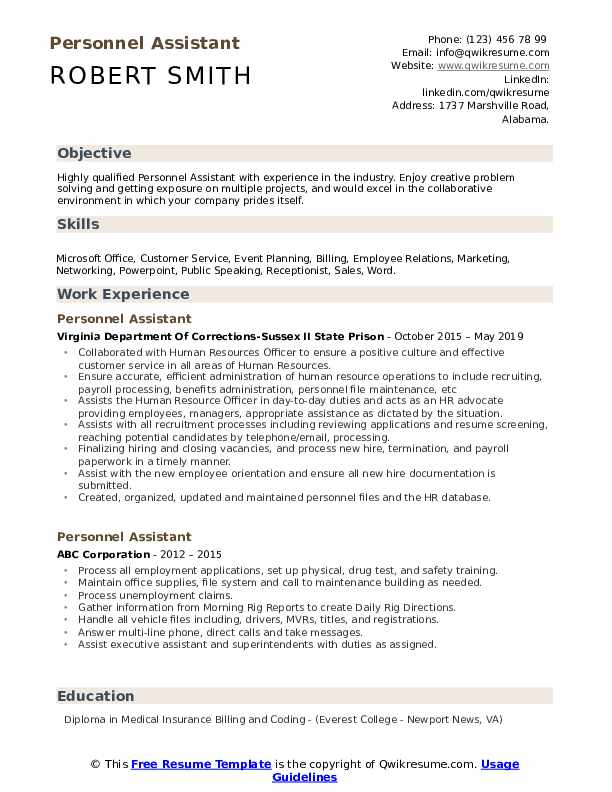 Personnel Assistant Resume Sample