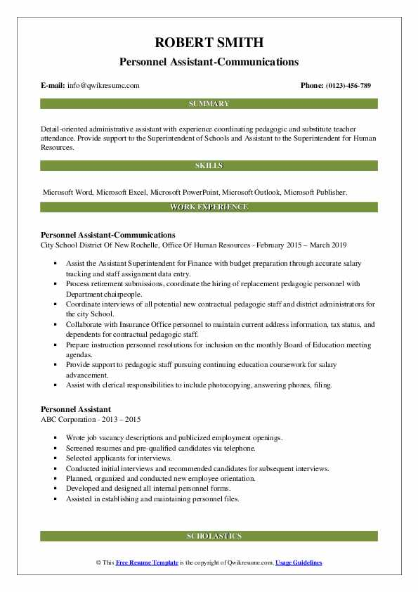 Personnel Assistant-Communications Resume Format