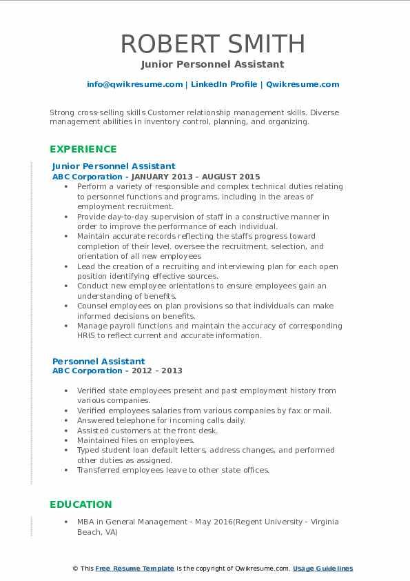 Junior Personnel Assistant Resume Format