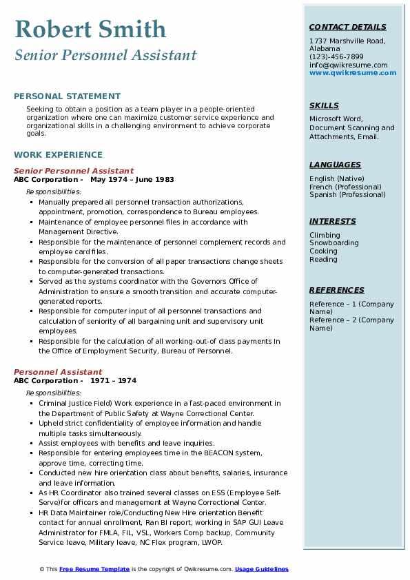 Senior Personnel Assistant Resume Sample