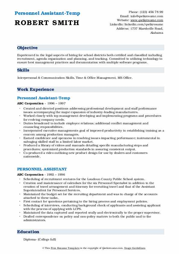 Personnel Assistant-Temp Resume Sample