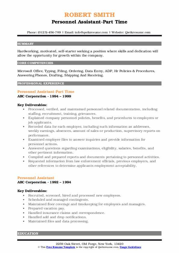Personnel Assistant Resume Samples Qwikresume