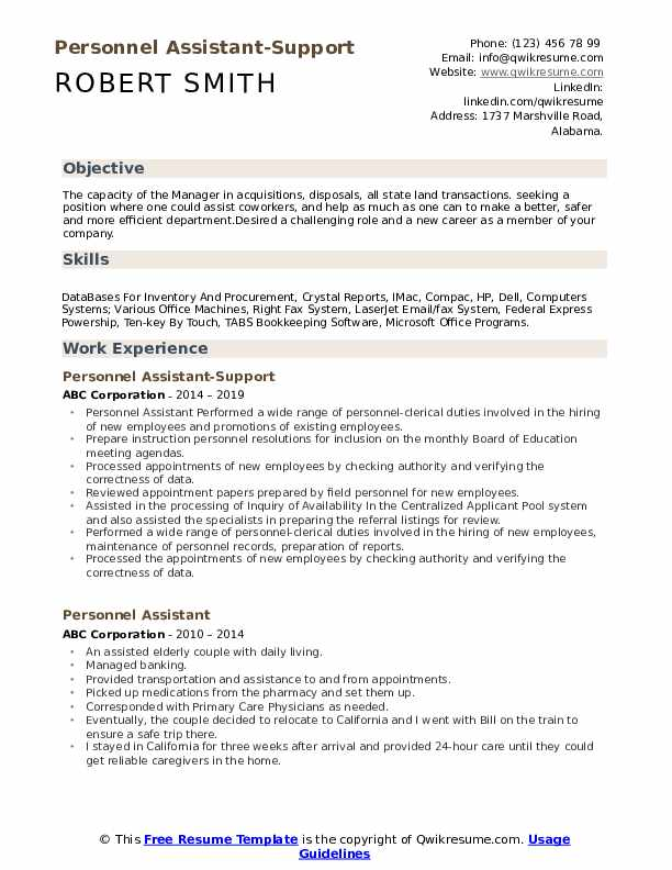 Personnel Assistant-Support Resume Sample