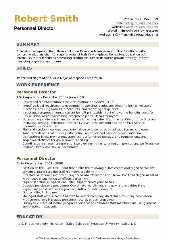 Personnel Director Resume example