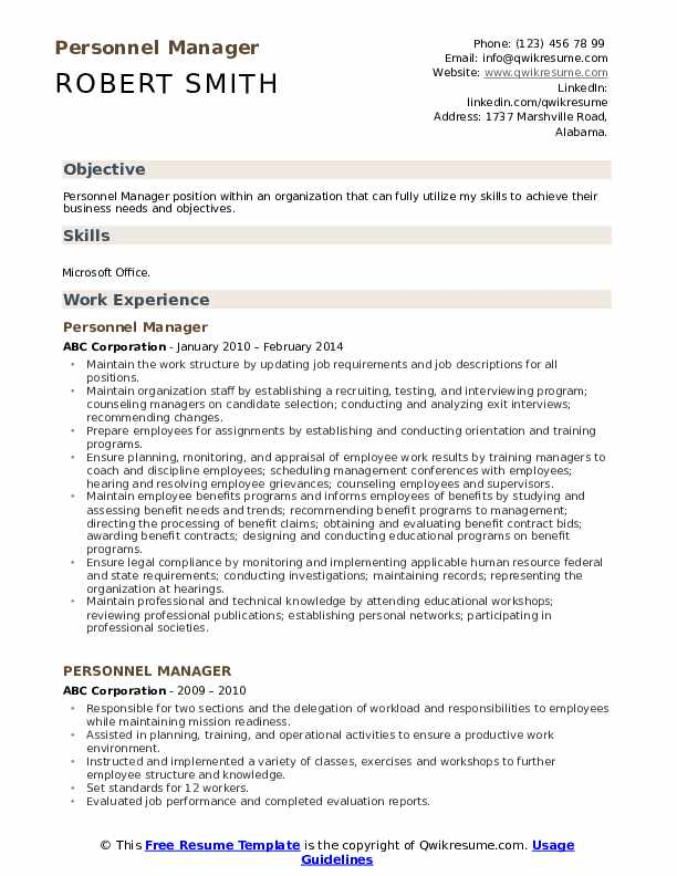 Personnel Manager Resume Format