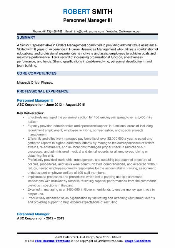 Personnel Manager III Resume Format