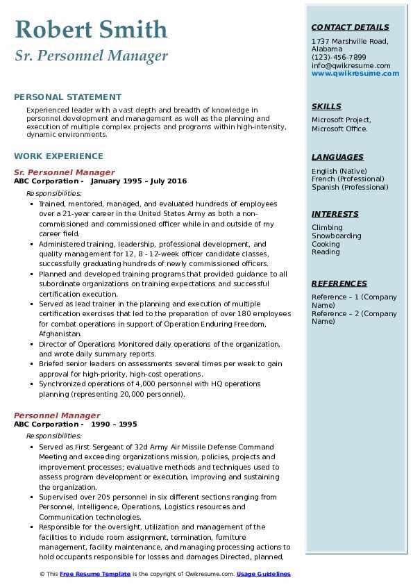 Sr. Personnel Manager Resume Format