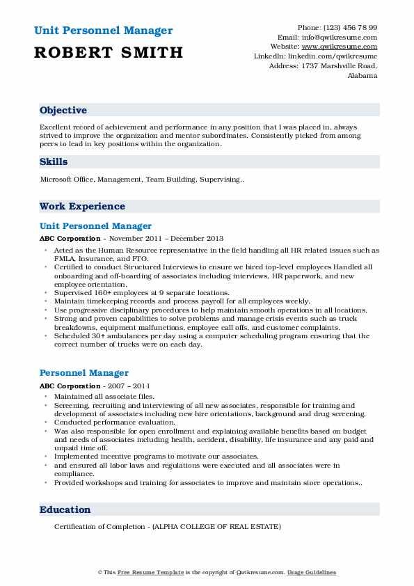 Unit Personnel Manager  Resume Model