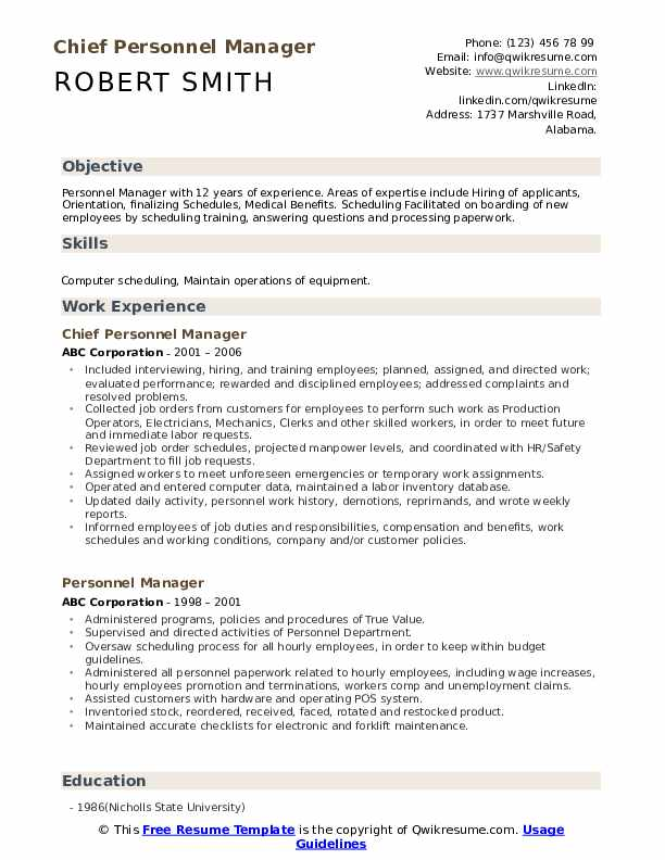 Chief Personnel Manager Resume Template