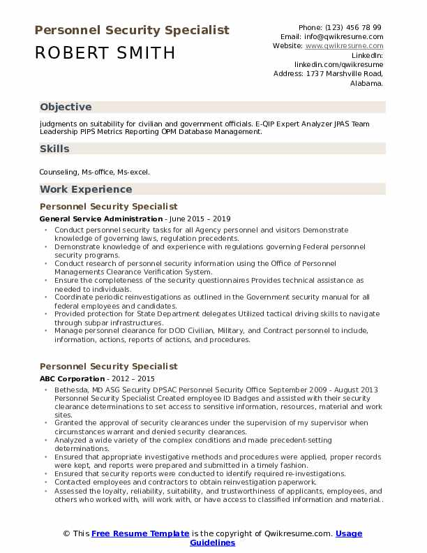 resume where to put security clearance