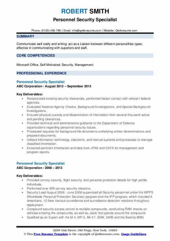 Personnel Security Specialist Resume example