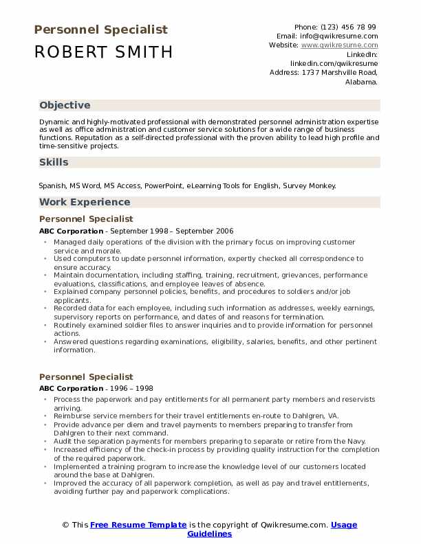 Personnel Specialist Resume Model