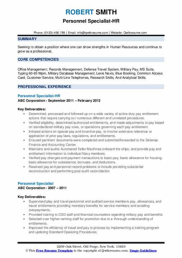 Personnel Specialist-HR Resume Sample