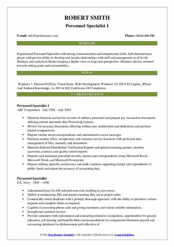 Personnel Specialist I Resume Model
