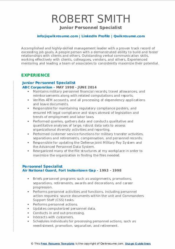 Junior Personnel Specialist Resume Model
