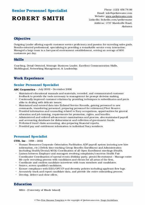 Senior Personnel Specialist Resume Example