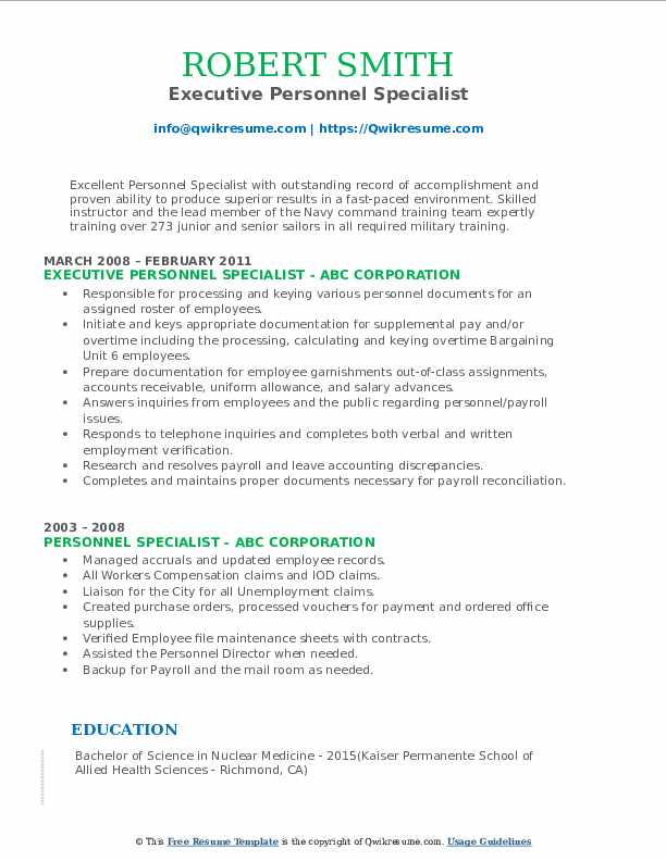 Executive Personnel Specialist Resume Example