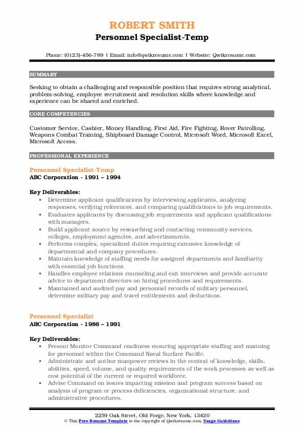 Personnel Specialist-Temp Resume Sample