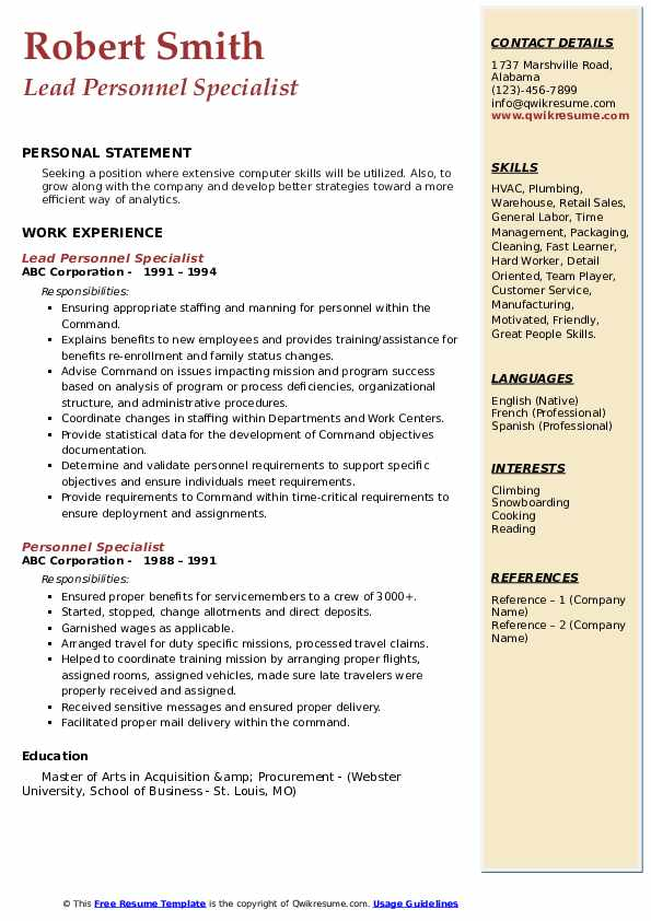 Lead Personnel Specialist Resume Template