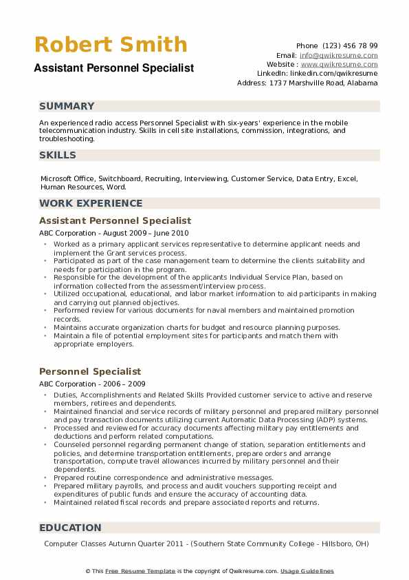 Assistant Personnel Specialist Resume Model