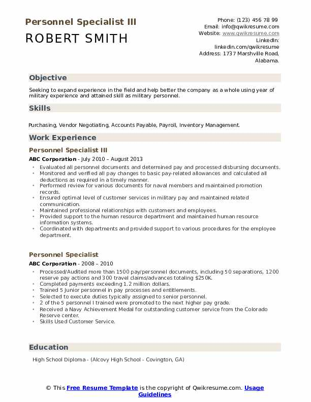 Personnel Specialist III Resume Format