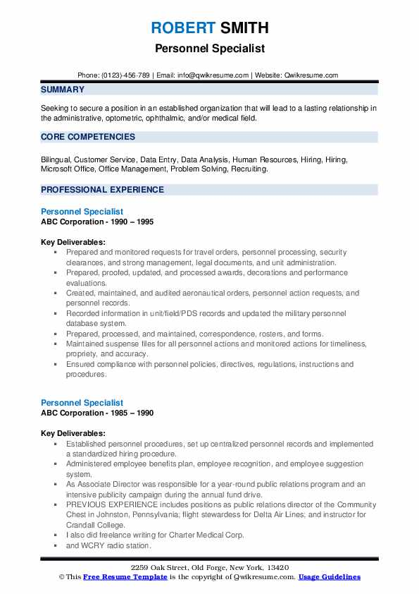 Personnel Specialist Resume example