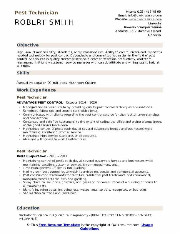Free Contemporary Pest Control Resume Example Resume Now