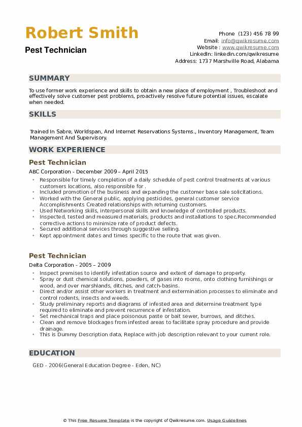 Pest Technician Resume example