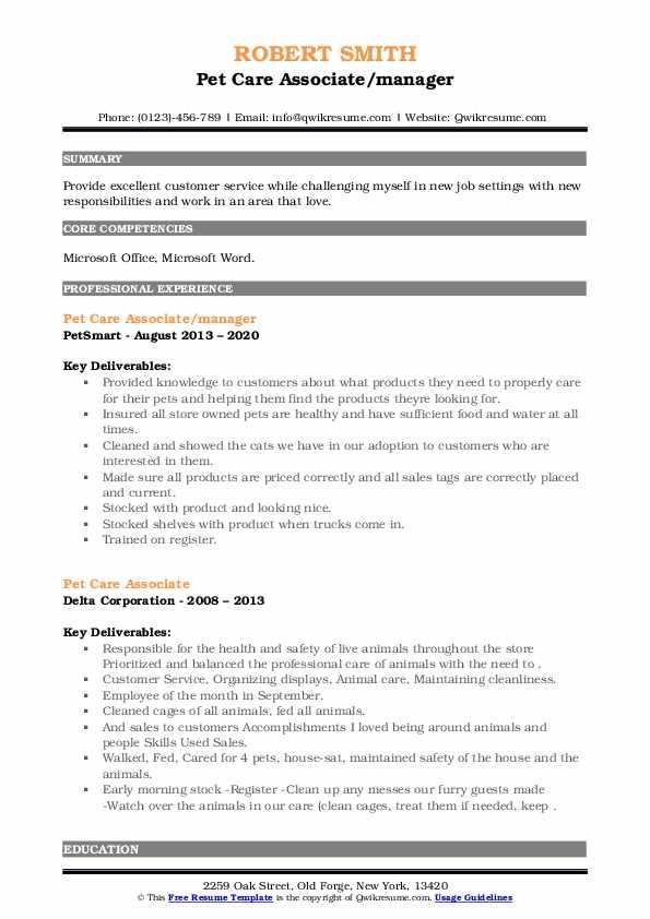pet care associate resume samples  qwikresume