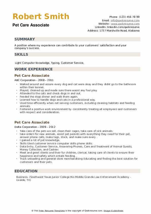 Pet Care Associate Resume example