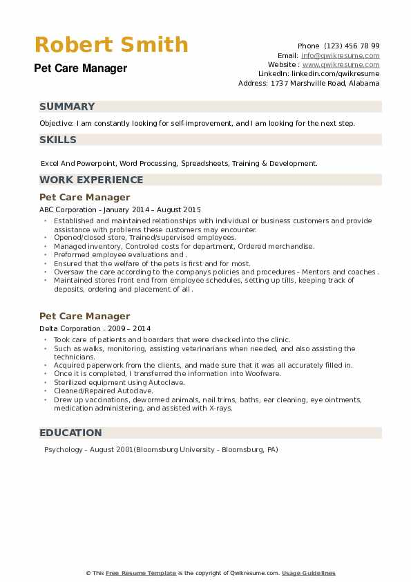 Pet Care Manager Resume example