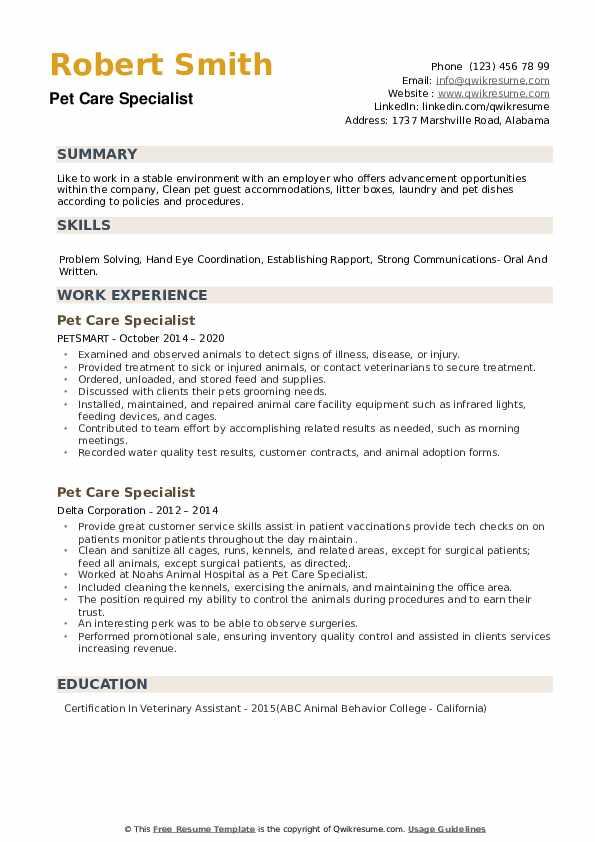 Pet Care Specialist Resume example