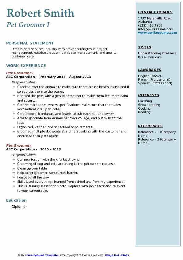 pet groomer resume samples  qwikresume
