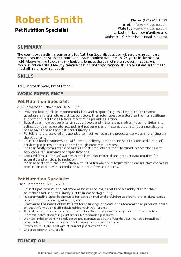 Pet Nutrition Specialist Resume example